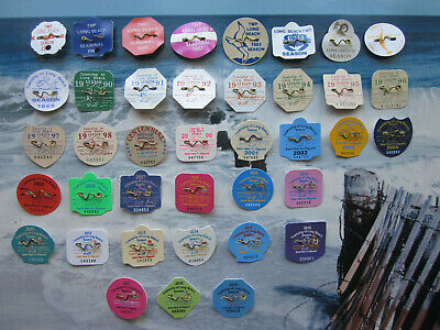 39  Year  Collection  Long  Beach  Township  (Lbi)  New Jersey Beach Badges/Tags