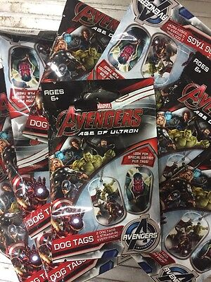 Marvels Avengers Age Of Ultron Dog Tags, Lot Of 10 Blind Packs For 20 Tags! Cool