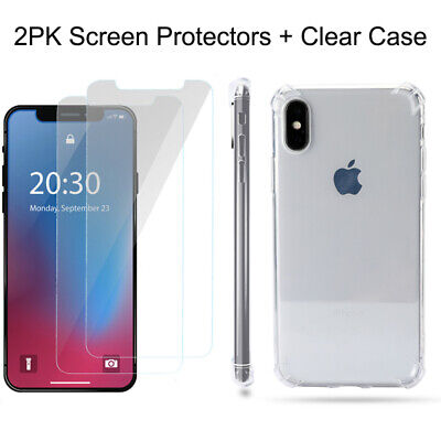 Case and 2PK 5D Screen Protectors for iPhone XR X, Xs Max 7 Plus 8 Plus Clear