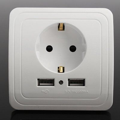 Dual USB Port Electric Wall Charger Station Socket Adapter Power Outlet EU Plug