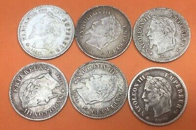 Job Lot X6 Antique French Second Empire 1867 Napoleon III 20 Cents Coin #Z155