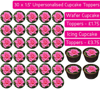 30 Pink Roses Edible Wafer & Icing Cupcakes Toppers Birthday Party Flowers