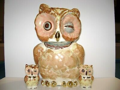 Shawnee Pottery Gold Trim Owl Cookie Jar with Matching Salt and Pepper Shakers