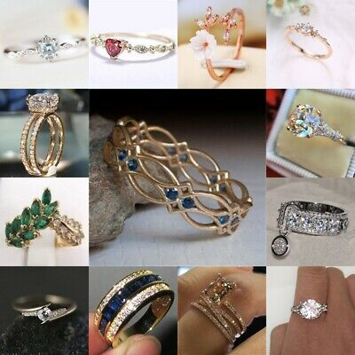 Trendy 925 Silver 18K Yellow Gold Plated Sapphire White Topaz Ring Women Jewelry