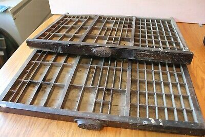 2 M&W MFG Co Antique Primitive WOODEN PRINTING PRESS DRAWERS Shadow Boxes trays