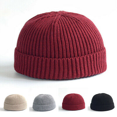 One Size Winter Sailor Hip Hop Street Dance Melon Cap Cuffed Knitted Wool Cap