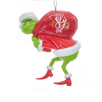 Kurt Adler Christmas Grinch Your A Sly One Ornament With Sack New 2019 GRH1184G