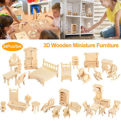 Wood Dollhouse Miniature Furniture Mini Doll Kitchen Cabinet Table Chair Bed