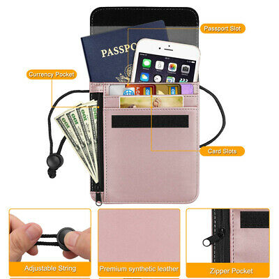 RFID Blocking Passport Holder Neck Pouch PU Leather Travel Wallet w Card Slots