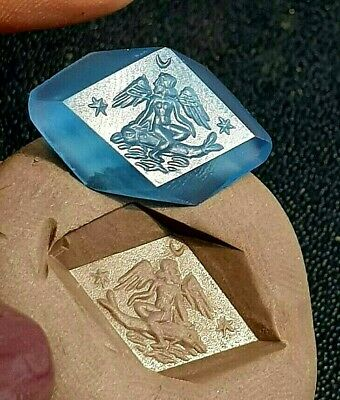 RARE Ancient Blue Agate Intaglio Angel Riding Dolphin Signet Engraved Bead