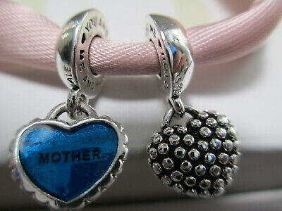 New Pandora Silver 925 Ale Piece of My Heart Mother Son Turquoise Enamel Charm