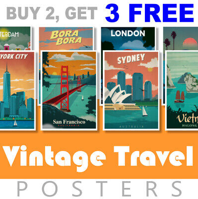 Vintage Travel Retro Posters A4 240gsm Posters Prints Art Tourism Holiday Cities