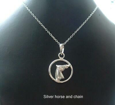 925 Silver 18ins necklace chain with silver horse Equestrian pendant gift bag