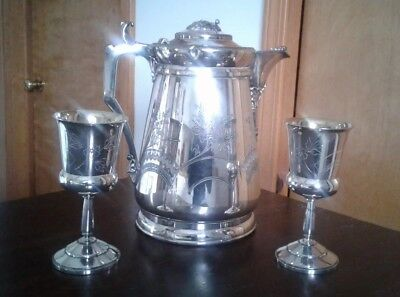 Simpson Hall Miller & CO. Treble Plated Double Walled Pitcher With Two Goblets