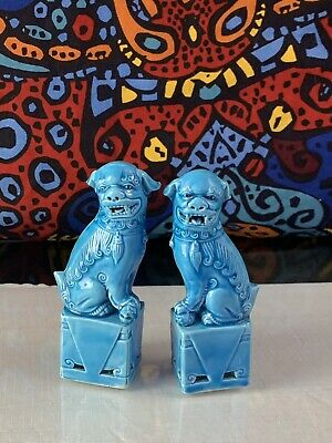 Vintage Chinese Turquoise Blue Porcelain Foo Dogs Figurines - 4.5 Inches tall -