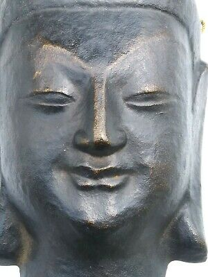 Vintage Asian Buddhist cast iron with bronze finish Mask Buddha wall  art decor