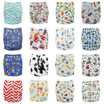 Washable Baby Cloth Diapers Reusable Nappy Sewn-in 4-layers Bamboo Insert Wrap