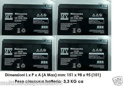 4 Pcs Rechargeable Battery Lead 12V 12Ah LP12-12 6-DZM-12 Electric Bike Ups