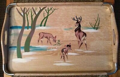 """Vintage 50s? Wood Tray """"Bambi"""" Artwork Hand Painted Front Handles Metal Corners"""