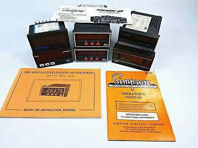 Lot of 6 Vintage Digital Meters Simpson, red Lion Controls, Ottotek