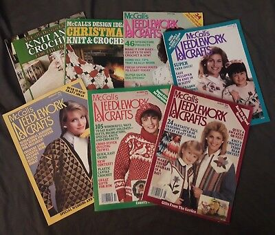 Lot 7 Vintage McCall's Needlework & Craft Magazine Patterns 1980s, Design Ideas