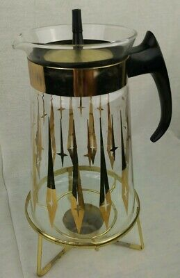 Pyrex | Eames Retro MCM Mid Century Modern Coffee Pot on Warmer Stand Glass Gold