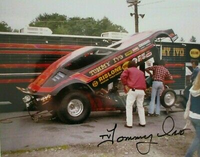 Tv Tommy Ivo Signed Nhra Rislone Drag Racing Plymouth Arrow Funny Car  Photo