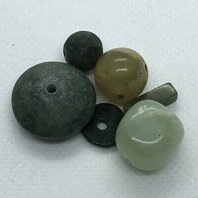 5 South American & Asian Jade Carved Beads Old Vintage Green Stone Trade Jewelry