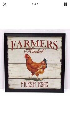 """TIN SIGN """"Fresh Eggs"""" Farm Dairy Cows Kitchen Vintage Mancave Farmer Rooster Buy"""