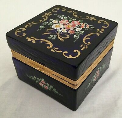 Antique French Cobalt Hinged Box with Pretty Flowers and Beautiful Gilding