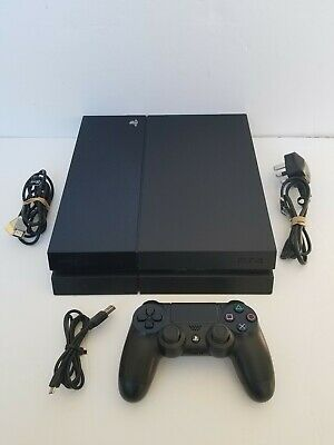 PS4 Sony PlayStation 4 Jet Black Game Console - 500GB - With Cables & Controller