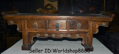"25.2"" Antique Old China Huanghuali Wood Dynasty 3 drawer Desk Table furniture"