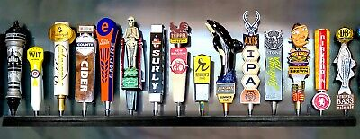 15 BEER TAP HANDLE DISPLAY BLACK FINISH WALL MOUNTED kegerator includes brackets