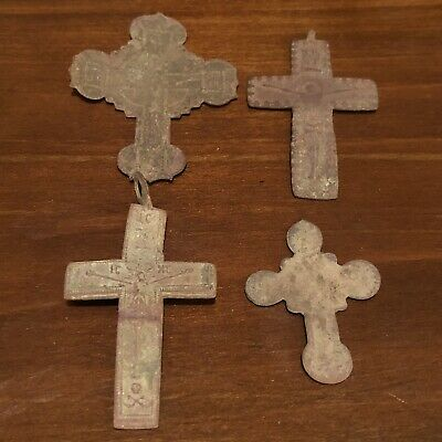 4 Antique 1600-1800's Orthodox Christian Cross Artifacts Russian Byzantine Old