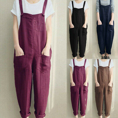 Womens Strappy Dungarees Rompers Jumpsuit Baggy Fashion Pants Overalls Playsuits