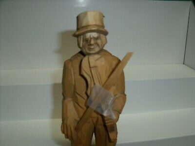 "Vintage Hand Carved Wood Folk Art Old Man with Violin Fiddle 8"" Tall Signed"