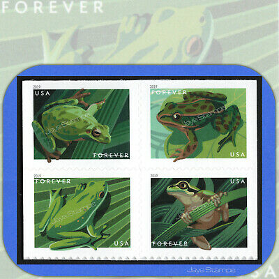 2019  FROGS Block of 4 attached USPS Forever® Stamps in cat order #5395-98 5398a