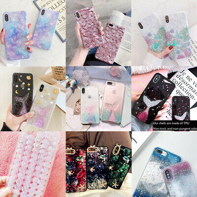 Sea Shell Mermaid Tail Fish TPU Phone Case For iPhone 6 7 8 Plus XS Max XR Cover