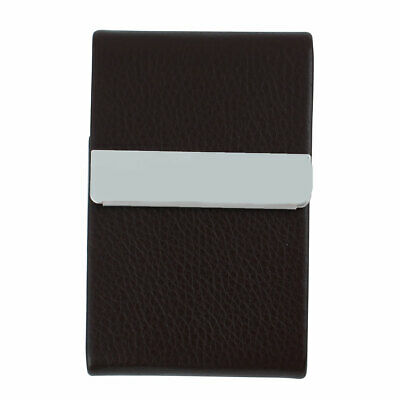 Unisex Work Travel Magnetic Shut Certificate Name Credit Card Case Coffee Color