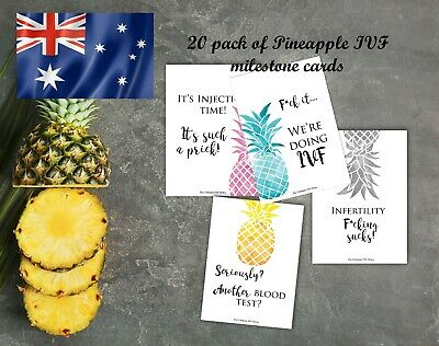 IVF milestone cards A6 size 20 pack fertility funny wording gift pineapple