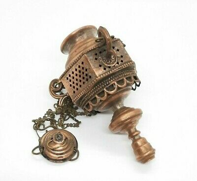 Antique Russian Orthodox Icons Lamp Lampada Brass 19th century.