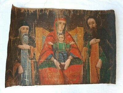 Antique Russian Orthodox Icon Hand Painted in Canvas 19th century.