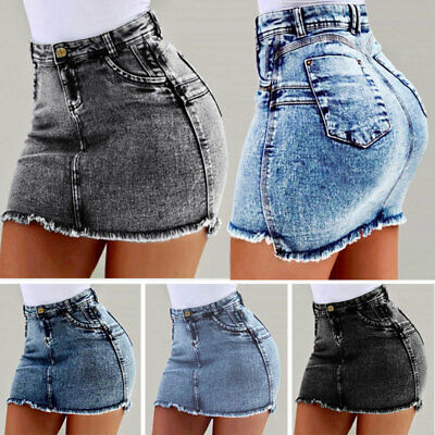Womens Girls Summer Casual Holiday Party Stretch Bodycon Jeans Denim Mini Skirts
