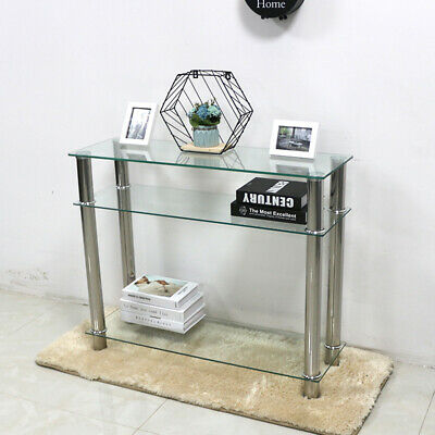 Glass Console Table Clear Black Chrome Legs 2 Tier Hall Side End Coffee Table-uk