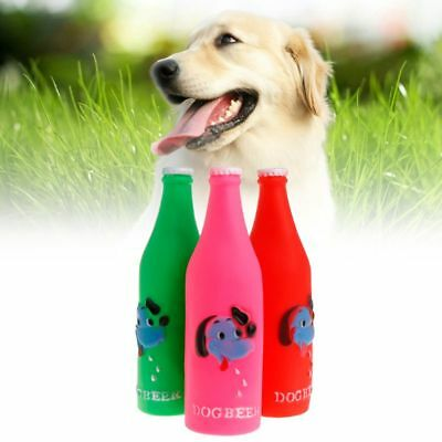 Rubber Bottle Soft Squeaky Pet Chew Bite Play Interactive Molar Footprint Play