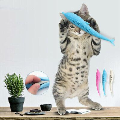 Pets Cat Fish Shape Toothbrush Silicone Molar Stick Teeth Cleaning Toy Cats US~