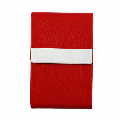Unisex Work Travel Magnetic Shut Certificate Name ID Credit Card Case Red