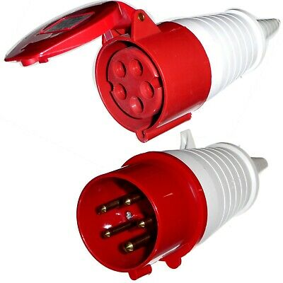 16A Plug & Coupler Socket 5 pin 3 phase 3P+N+E 415V 16 Amp red Industrial IP44