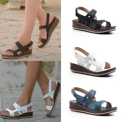Women Wide Fit Flat Wedges Sandals Lady Peep Toes Ankle Straps Summer Shoes Size