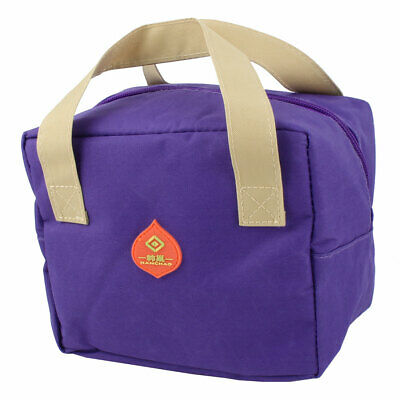 Portable Thermal Cooler Insulated Lunch Bag Tote Picnic Container Box Purple